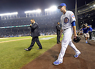 CHICAGO, IL - OCTOBER 16:  Kyle Hendricks #28 of the Chicago Cubs walks onto the field prior to Game 2 of NLCS against the Los Angeles Dodgers at Wrigley Field on Sunday, October 16, 2016 in Chicago, Illinois. (Photo by Ron Vesely/MLB Photos via Getty Images) *** Local Caption *** Kyle Hendricks