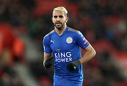 "Leicester City's Riyad Mahrez during the Premier League match at St Mary's Stadium, Southampton. PRESS ASSOCIATION Photo. Picture date: Wednesday December 13, 2017. See PA story SOCCER Southampton. Photo credit should read: Adam Davy/PA Wire. RESTRICTIONS: EDITORIAL USE ONLY No use with unauthorised audio, video, data, fixture lists, club/league logos or ""live"" services. Online in-match use limited to 75 images, no video emulation. No use in betting, games or single club/league/player publications."