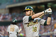Oakland Athletics right fielder Josh Reddick prepares to bat against the Minnesota Twins on July 13, 2012 at Target Field in Minneapolis, Minnesota.  The Athletics defeated the Twins 6 to 3.  © 2012 Ben Krause