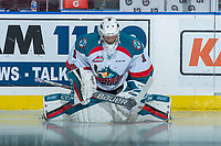 KELOWNA, CANADA - JANUARY 5: James Porter #1 of the Kelowna Rockets stretches on the ice during warm up against the Seattle Thunderbirds on January 5, 2017 at Prospera Place in Kelowna, British Columbia, Canada.  (Photo by Marissa Baecker/Shoot the Breeze)  *** Local Caption ***