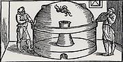 Reverberatory furnace for smelting metals. From 'De la pirotechnia' by Vannoccio Biringuccio (Venice, 1540).
