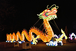 © Licensed to London News Pictures. 03/02/2016. London, UK. The UK Premier of the world famous Magical Lantern Festival comes to Chiswick House. The festival is a spectacular artistic installation of beautifully sculpted lanterns taking various forms from animals and birds to buildings and abstract lantern designs of all shapes and sizes. Photo credit: Ray Tang/LNP