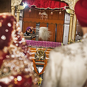 The Anand Karaj, the Sikh marriage ceremony, takes place in the presence of the Guru Granth - The Holy book - at a Gurudwara in Chandigarh, 2011. <br /> <br /> The Sikh marriage is a partnership of equals. No consideration is to be given to Caste, Social Status, Race or lineage. No Dowry is allowed. No day is considered holier above any other, hence no astrological considerations are to be made and no superstitions are to be observed in fixing the date of the wedding.