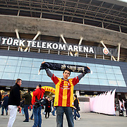 Galatasaray's supporter during their Friendly soccer match Galatasaray between Ajax at the Turk Telekom Arena at Arslantepe in Istanbul Turkey on Saturday 15 January 2011. Turkish soccer team Galatasaray new stadium Turk Telekom Arena opening ceremony. Photo by TURKPIX
