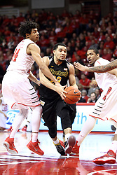 14 February 2015:   DeVaughn Akoon-Purcell and DeVaughn Akoon-Purcell attempt to stop the drive to the lane from Fred VanVleet during an NCAA MVC (Missouri Valley Conference) men's basketball game between the Wichita State Shockers and the Illinois State Redbirds at Redbird Arena in Normal Illinois