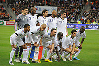 FOOTBALL - FRIENDLY GAME 2010 - FRANCE v SPAIN - 03/03/2010 - PHOTO JEAN MARIE HERVIO / DPPI - TEAM FRANCE ( BACK ROW LEFT TO RIGHT: HUGO LLORIS / MICHAEL CIANI / JULIEN ESCUDE / NICOLAS ANELKA / JEREMY TOULALAN. FRONT ROW: PATRICE EVRA / THIERRY HENRY / FRANCK RIBERY / BACARY SAGNA / YOANN GOURCUFF / LASSANA DIARRA )