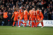 Luton players celebrate the first goal 1-0 during the EFL Sky Bet League 1 match between Luton Town and Peterborough United at Kenilworth Road, Luton, England on 19 January 2019.