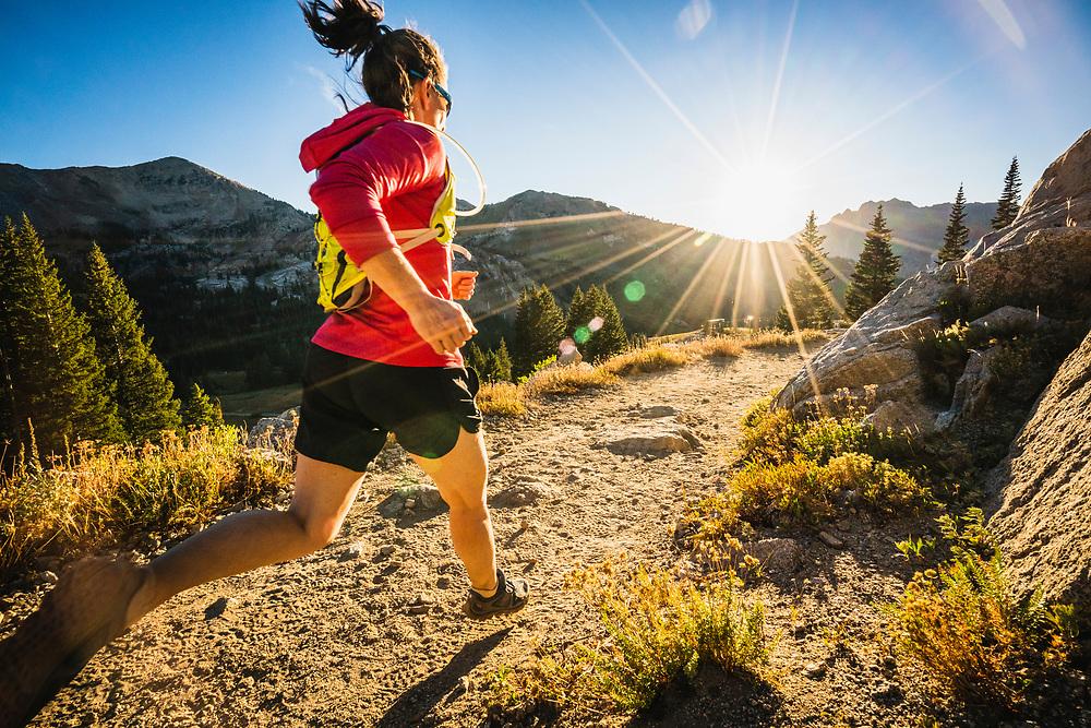 Jacki Arevalo enjoys a sunset run in Albion Basin, Wasatch Range, Utah.