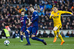 March 4, 2018 - Barcelona, Catalonia, Spain - 03 Gerard Pique from Spain of FC Barcelona defended by 21 Gameiro from France of Atletico de Madrid during La Liga match between FC Barcelona v Atletico de Madrid at Camp Nou Stadium in Barcelona on 04 of March, 2018. (Credit Image: © Xavier Bonilla/NurPhoto via ZUMA Press)