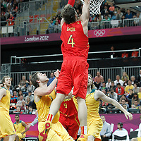 31 July 2012: Spain Pau Gasol goes for the dunk during the first half of Spain vs Australia, during the men's basketball preliminary, at the Basketball Arena, in London, Great Britain.