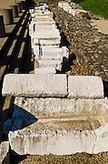 Pillars at the Roman theater on Fourvière Hill, Lyon, France (UNESCO World Heritage Site)