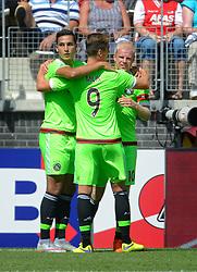 09-08-2015 NED: AZ - Ajax, Alkmaar<br /> Ajax verslaat AZ vrij eenvoudig met 3-0 / Anwar El Ghazi #21 scoort de 2-0, Arkadiusz Milik #9, Davy Klaassen #10