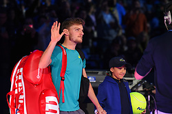 November 17, 2017 - London, England, United Kingdom - David Goffin of Belgium walks out for his Singles match against Dominic Thiem of Austria during day six of the Nitto ATP World Tour Finals at O2 Arena on November 17, 2017 in London, England. (Credit Image: © Alberto Pezzali/NurPhoto via ZUMA Press)