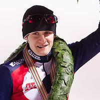 Czech Republic's Martina Sablikova celebrates her victory on the Speed Skating All-round European Championships in Budapest, Hungary on January 8, 2012. ATTILA VOLGYI