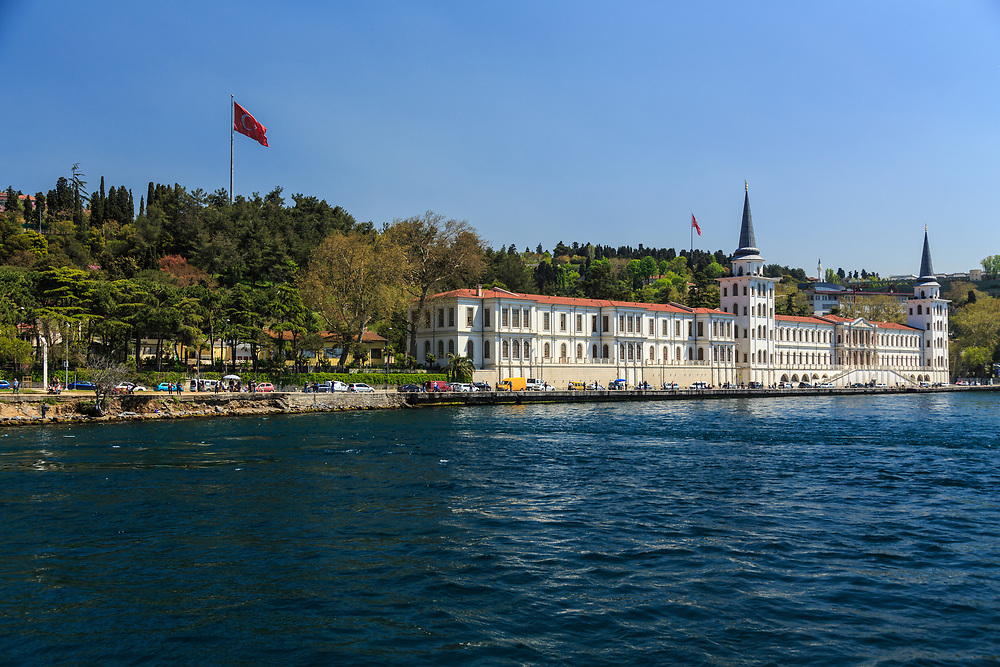 The former Kuleli Military High School on the Asian shore of the Bosphorus strait in Çengelköy, Istanbul, Turkey. The grand building is supposed to be a museum in the future.