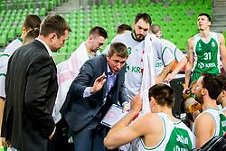 Simon Petrov, head coach of Krka during basketball match between KK Petrol Olimpija and KK Krka in Playoffs of Liga Nova KBM, on March 17, 2018 in Arena Stozice, Ljubljana, Slovenia. Photo by Ziga Zupan / Sportida