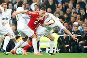 Champions League semi final second leg soccer match between Real Madrid and FC Bayern Munich at the Santiago Bernabeu stadium in Spain - <br /> MADRID 25/04/2012<br /> ESTADIO SANTIAGO BERNABEU.<br /> half final, Halbfinale, Semifinale,  CHAMPIONS LEAGUE<br /> REAL MADRID 2 - BAYERN 1<br /> picture: ÷ZIL, OEZIL, OZIL. RIBERY. ARBELOA.- fee liable image, copyright © ATP QUEEN INTERNACIONAL<br /> <br /> Real MADRID vs Fc BAYERN Match 2:1 und 3:1 im Elfmeterschieflen - and 3:1 in penalty shooting - Queen photographer Fernando ALVAREZ