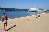 Dniepr river and cruise boat - Zaporozhia - Ukraine