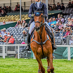 Louise Romeike Badminton Horse Trials Gloucester England UK. Loiuse Romeike equestrian eventing representing Sweden riding Wieloch's Utah Sun in the Badminton horse trials 2019 Badminton Horse trials 2019 Winner Piggy French wins the title