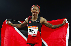 Trinidad and Tobago's Michelle-Lee Ahye celebrates after winning gold in the Women's 100m Final at the Carrara Stadium during day five of the 2018 Commonwealth Games in the Gold Coast, Australia.