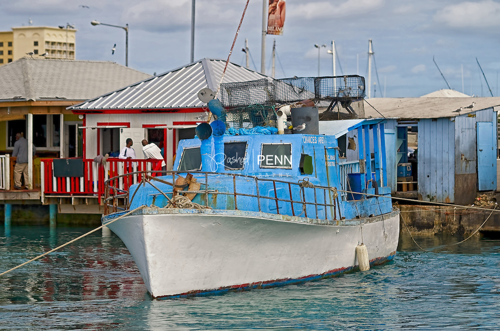 Bahamian Fishing Boats anchored during the heat of the day in safe harbour