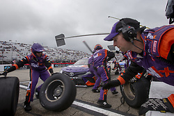 July 22, 2018 - Loudon, New Hampshire, United States of America - Denny Hamlin (11) makes a pit stop during the Foxwoods Resort Casino 301 at New Hampshire Motor Speedway in Loudon, New Hampshire. (Credit Image: © Stephen A. Arce/ASP via ZUMA Wire)