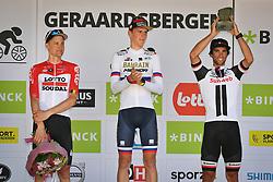 August 19, 2018 - Geraardsbergen, BELGIUM - Belgian Tim Wellens of Lotto Soudal, Slovenian Matej Mohoric of Bahrain-Merida , winner of the Binckbank Tour and Australian Michael Matthews of Team Sunweb on the podium of the final stage of the Binkcbank Tour cycling race, 209,5 km from Lacs de l'Eau d'Heure to Geraardsbergen, Belgium, Sunday 19 August 2018. BELGA PHOTO DAVID STOCKMAN (Credit Image: © David Stockman/Belga via ZUMA Press)