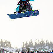 US Snowboarding Team member Kelly Clark in the half pipe during finals at the 2009 LG Snowboard FIS World Cup at Cypress Mountain, British Columbia, on February 16th, 2009. Clark won the Gold medal.