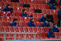 PIRAEUS, GREECE - DECEMBER 09: Players of Olympiacos FC during the UEFA Champions League Group C stage match between Olympiacos FC and FC Porto at Karaiskakis Stadium on December 9, 2020 in Piraeus, Greece. (Photo by MB Media)