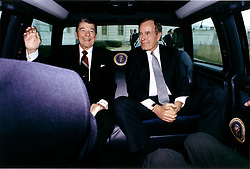 Washington, D.C. - January 20, 1989 -- United States President Ronald Reagan and President-elect George H.W. Bush arrive at the United States Capitol in Washington, DC on January 20, 1989 after a limousine ride from the White House for Bush's inaugural ceremonies. Photo by White House/CNP/ABACAPRESS.COM