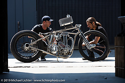 Max Hazen rode over to Lock Baker's Los Angeles shop on his 1938 JAP 500 for a trial run. The two builders had a great time going over the bike, which was fitted with a temporary test fuel tank for the ride. CA, USA. Thursday, June 21, 2018. Photography ©2018 Michael Lichter.