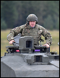 September 8, 2017 - Estonia, Estonia - Image ©Licensed to i-Images Picture Agency. 08/09/2017. Estonia. Foreign Secretary in a challenger tank with  British Troops in a  NATO deployment to Estonia as part of UK commitment to European security. .Picture by Andrew Parsons / i-Images (Credit Image: © Andrew Parsons/i-Images via ZUMA Press)
