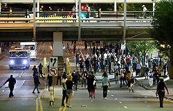 Protestors disperse in Charlotte, NC, USA, on Wednesday, Sept. 21, 2016. The protestors were rallying against the fatal shooting of Keith Lamont Scott by police on Tuesday evening in the University City area. Photo by Jeff Siner/Charlotte Observer/TNS/ABACAPRESS.COM