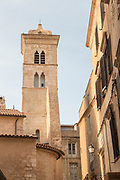Low angle view of old town citadel, historical architecture, Bonifacio, Corsica, France