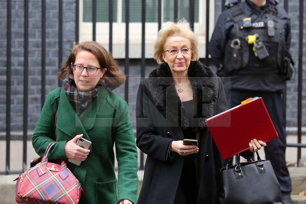 """© Licensed to London News Pictures. 18/12/2018. London, UK. Baroness Evans - Lord Privy Seal and Leader of the House of Lords (L ) and Andrea Leadsom - Lord President of the Council and Leader of the House of Commons (R) departs from No 10 Downing Street after attending the weekly Cabinet Meeting that discussed the preparations for a """"No Deal"""" Brexit. Photo credit: Dinendra Haria/LNP"""