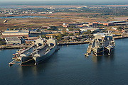 Aerial view of the old Navy Base with supple ships Charleston, South Carolina.