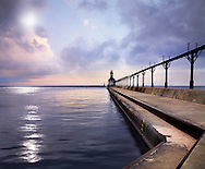 The Michigan City East Pierhead Lighthouse At Sunset On Lake Michigan, Michigan City, Indiana, USA