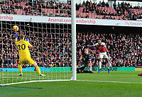 Football - 2018 / 2019 Premier League - Arsenal vs. Burnley<br /> <br /> Pierre - Emerick Aubameyang of Arsenal scores the second of his two goals past Joe Hart, at The Emirates.<br /> <br /> COLORSPORT/ANDREW COWIE