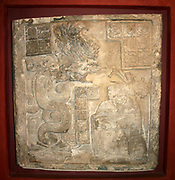 Lintel No 15, from Yaxchilan, Mayan, AD 770. Noblewoman raising spirit of an ancestor by self-hallucination caused by blood-letting. Mexico Mesoamerican Civilization Archaeology Artefact Limestone Pre-Columbian Hypnosis