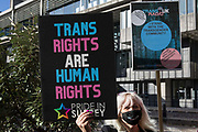 A Pride In Surrey activist protests outside the first annual conference of the LGB Alliance at the Queen Elizabeth II Centre on 21st October 2021 in London, United Kingdom. Many LGBT+ activists and advocacy groups are opposed to the LGB Alliance, a government-registered charity, which they consider to be a divisive anti-trans campaign group.