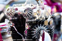 Ryan Mullion's Tiger Shack 1953 Triumph 6T custom at the docks on setup day for the 27th Annual Mooneyes Yokohama Hot Rod Custom Show 2018. Yokohama, Japan. Saturday, December 1, 2018. Photography ©2018 Michael Lichter.