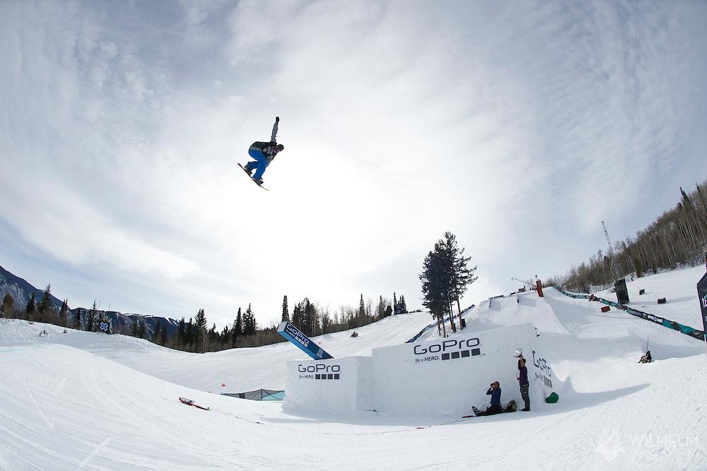 Chas Guldemond during Men's Snowboard Slopestyle Practice at the 2013 X Games Aspen at Buttermilk Mountain in Aspen, CO.  Brett Wilhelm/ESPN