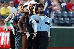"""18 May 2012:  The """"YMCA"""" performs between innings of a Frontier League Baseball game between the Windy City Thunderbolts and the Normal CornBelters at Corn Crib Stadium on the campus of Heartland Community College in Normal Illinois"""