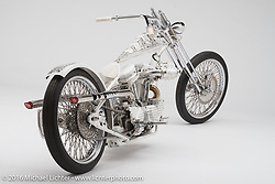 """""""Queen of California"""", a white Sportster digger built by Arnaud Mary of Motorsports in France. Photographed by Michael Lichter in Sturgis, SD on August 13. ©2016 Michael Lichter."""