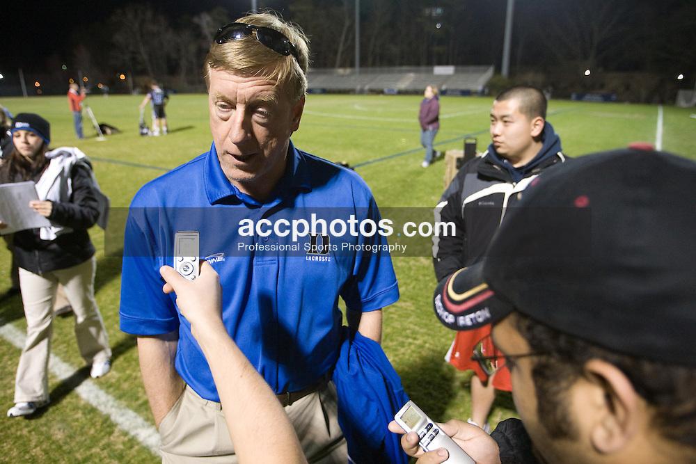 01 March 2008: Duke Blue Devils men's lacrosse head coach John Danowski in a 15-7 win over the Maryland Terrapins at Koskinen Stadium in Durham, NC