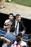 Atletico de Madrid's coach Diego Pablo Cholo Simeone in the middle of the supportes during Supercup of Spain 2nd match.August 19,2014. (ALTERPHOTOS/Acero)
