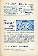 Ad for the Bird Bicycle Appeared in a monthly magazine called 'Birds : illustrated by color photography' a monthly serial. Knowledge of Bird-life in 1897.