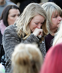 © Licensed to London News Pictures. 01/12/2017. Connah's Quay, UK. Emotional guests arrive at the funeral of Carl Sargeant, who died four days after stepping down from his post in the Welsh Government after unspecified allegations of sexual harassment were made against him. He had denied the allegations. Photo credit: Joel Goodman/LNP