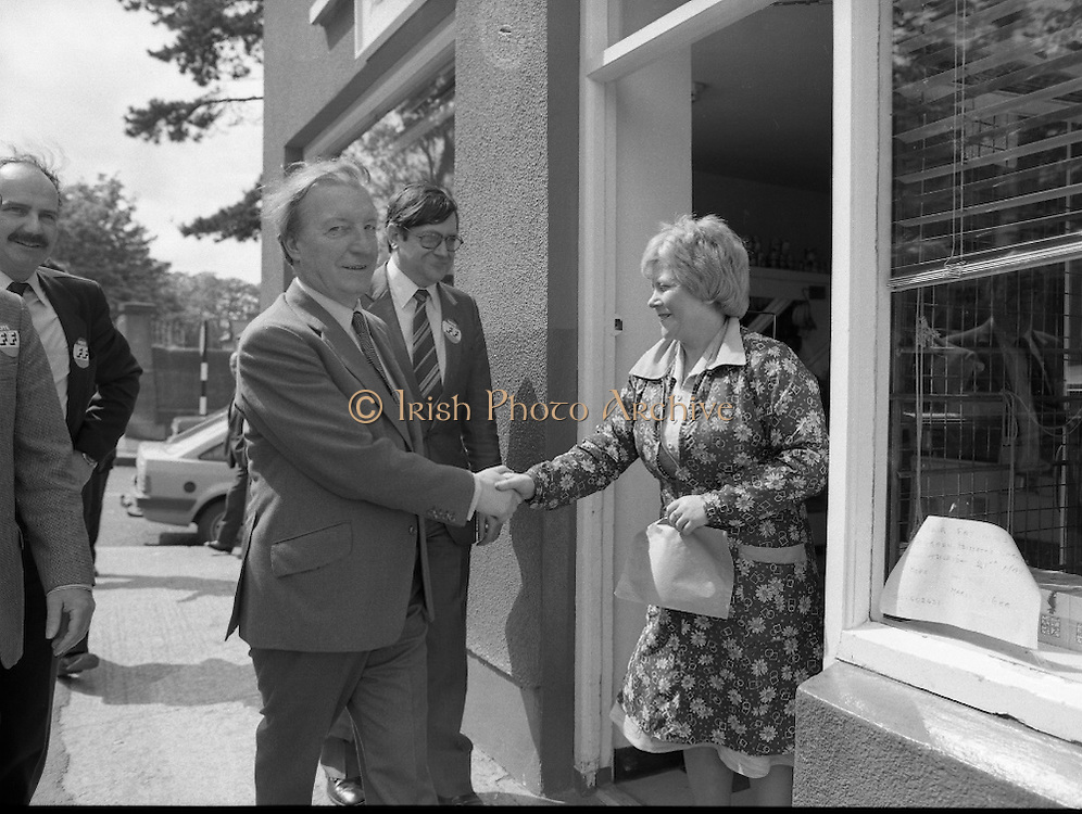Taoiseach's Election Campaign.      (N77)..1981..23.05.1981..05.23.1981..23rd May 1981..On the 21st May the Taoiseach, Mr Charles Haughey, dissolved the Dáil and called a general election. Charles Haughey, Garret Fitzgerald and Frank Cluskey were leading their respective parties into a general election for the first time as they had only taken party leadership during the last Dáil..Fianna Fáil had hoped to call the election earlier, but the Stardust Tragedy caused the decision to be deferred...On his whistle stop tour of Dublin, Charles Haughey is pictured meeting voters in Malahide,Co Dublin. Ray Burke the local candidate is pictured to his left.
