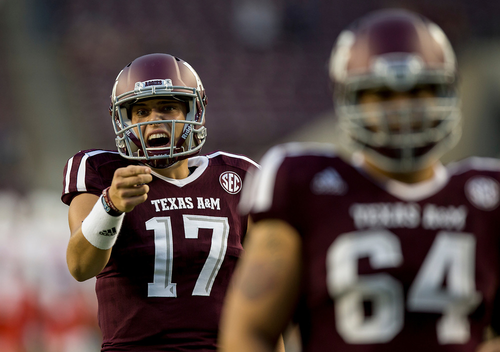 Texas A&M quarterback Nick Starkel (17) yells to a receiver before the start of an NCAA college football game against New Mexico on Saturday, Nov. 11, 2017, in College Station, Texas. (AP Photo/Sam Craft)